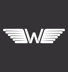 W - letter with wings logo in the black and white vector image