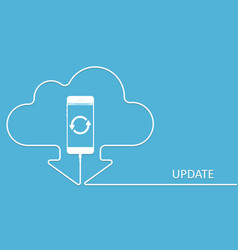 white phone charging in style update app cloud sm vector image