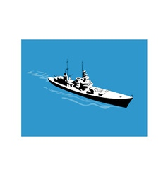World War Two Battleship Warship Cruiser Retro vector