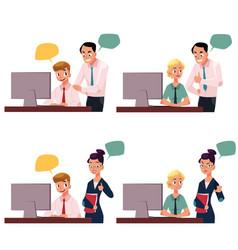 Boss managing employee working on computer vector