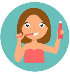 dental hygiene happy girl brushing her teeth vector image vector image