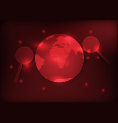 earth and magnifier with red background vector image vector image