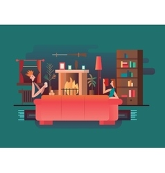 Interior room fireplace vector image