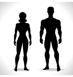 Silhouettes of man and woman in black color vector image