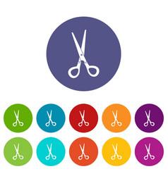 stationery scissors icons set flat vector image