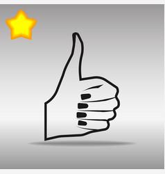 thumb up black icon button logo symbol vector image vector image