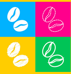 coffee beans sign four styles of icon on four vector image