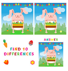 find ten differences of easter bunny with eggs vector image