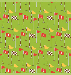 golf field flags hobby equipment cart player vector image vector image