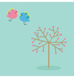 Love tree with hearts and bird Flat design vector image vector image