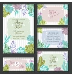 Cactus Wedding Cards Set vector image