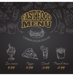 Chalkboard fast food menu in hand drawn style vector image vector image