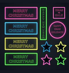 christmas neons frame on dark background vector image vector image