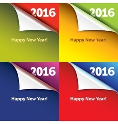 Colored stickers with bent corners Happy New Year vector image vector image