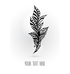 decorative hand-painted frame with bird feathers vector image
