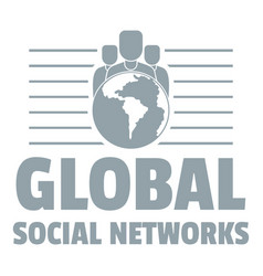 global social networks logo simple gray style vector image vector image