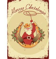 Santa sit on horseshoe with cowboy lasso on vector image