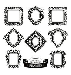 Set of vintage baroque frames vector