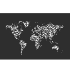World map made up from modern white circles vector