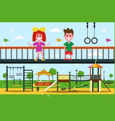 kids on playground flat design city park cartoon vector image