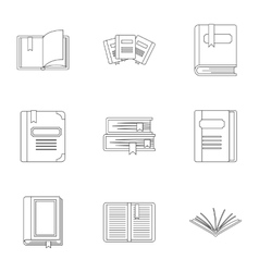 Textbooks icons set outline style vector image