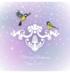 Two tits on christmas background vector