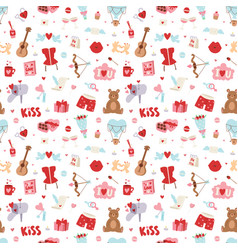 valentine day icons seamless pattern vector image