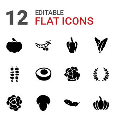 12 vegetable icons vector