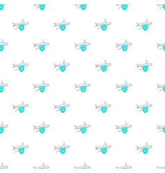 Aircraft and sky blue shield pattern cartoon style vector