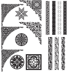 Arabic ornament corners vector image
