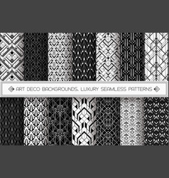 Art deco patterns set black white vector