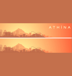 Athens beautiful skyline scenery banner vector