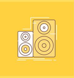Audio hifi monitor speaker studio flat line vector