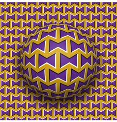 Ball rolls along surface Abstract optical Purple vector