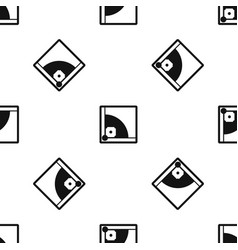 baseball field pattern seamless black vector image