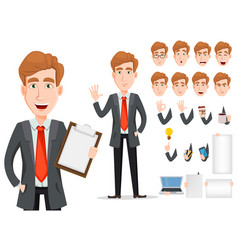 Business man with blond hair cartoon character vector