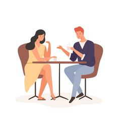 Cartoon couple enjoy romantic date drink coffee vector
