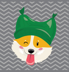 cartoon portrait a dog in a hat christmas cute vector image