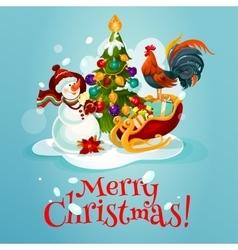 Christmas tree snowman gift greeting card design vector image