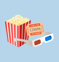 cinema tickets package popcorn and glasses vector image