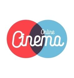 Color vintage online cinema emblem vector