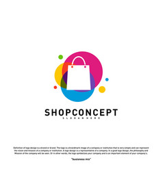 Colorful shop logo design concept shopping center vector