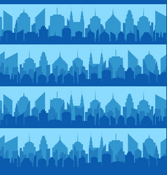 comic blue cityscape seamless pattern vector image
