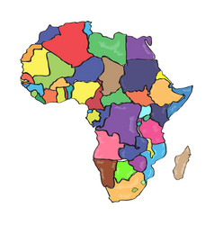 comic drawing of a political map of africa vector image