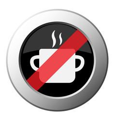 Cooking pot smoke icon - ban round metal button vector