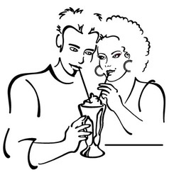 Couple in love on a date sharing a milkshake vector