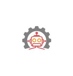creative gear robot logo design vector image
