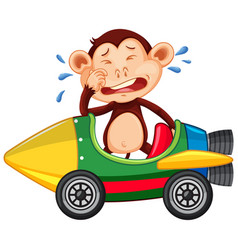 Crying monkey riding on toy car vector