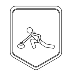 Curling pictogram icon shield emblem vector