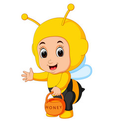 Cute boy cartoon wearing bee costume vector